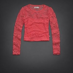 Hollister l Coral Orange Lace Sweetheart Crop Top